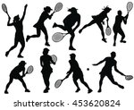 tennis silhouettes on the white ... | Shutterstock .eps vector #453620824