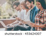 living in digital age. group of ... | Shutterstock . vector #453624307