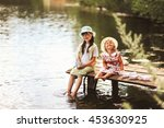 children rest and play on the... | Shutterstock . vector #453630925