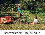 the little girls gardener... | Shutterstock . vector #453632335
