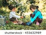 the little girls gardener... | Shutterstock . vector #453632989