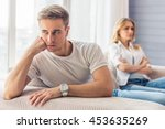 young couple quarrels. handsome ... | Shutterstock . vector #453635269