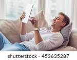 handsome young businessman in...   Shutterstock . vector #453635287