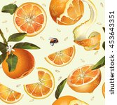vector orange seamless pattern. ... | Shutterstock .eps vector #453643351