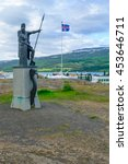 Small photo of AKUREYRI, ICELAND - JUNE 17, 2016: The first settlers monument, in Akureyri, Iceland