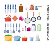 a set of kitchen utensils in a... | Shutterstock .eps vector #453668821