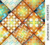 abstract seamless patchwork... | Shutterstock .eps vector #453669541