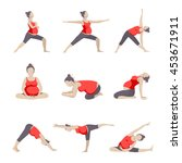 set of 9 yoga poses for... | Shutterstock .eps vector #453671911