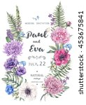 vintage floral watercolor... | Shutterstock . vector #453675841