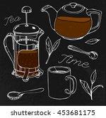 hand drawn tea set image in... | Shutterstock .eps vector #453681175