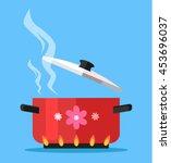boiling water in pan. vector... | Shutterstock .eps vector #453696037