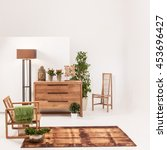 natural wood furniture white... | Shutterstock . vector #453696427