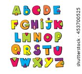 funny doodle alphabet. colorful ... | Shutterstock .eps vector #453700525