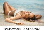 summer lifestyle portrait of...   Shutterstock . vector #453700909