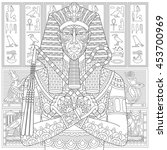 stylized ancient pharaoh and... | Shutterstock .eps vector #453700969
