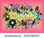 vector line art doodle set of... | Shutterstock .eps vector #453708547