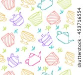 seamless pattern with hand... | Shutterstock .eps vector #453716554