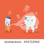 tooth and cigarette characters. ... | Shutterstock .eps vector #453722965