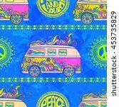 hippie vintage car a minivan... | Shutterstock .eps vector #453735829