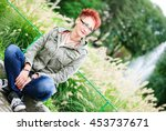 woman with interesting youthful ... | Shutterstock . vector #453737671