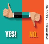 yes no thumbs up and down flat... | Shutterstock .eps vector #453739789