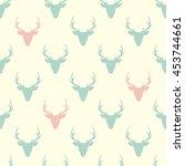 Deer Heads Seamless Pattern