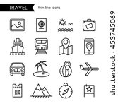 travel thin line icon set  for... | Shutterstock .eps vector #453745069