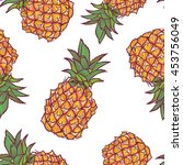 seamless pattern with pineapple ... | Shutterstock .eps vector #453756049
