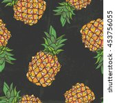 seamless pattern with pineapple ... | Shutterstock .eps vector #453756055