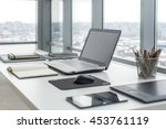 workplace with notebook laptop... | Shutterstock . vector #453761119