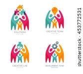 set of vector human logo  icons ... | Shutterstock .eps vector #453772531