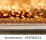 old wood table top on rose gold ... | Shutterstock . vector #453783511