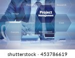 businessman holding a tablet... | Shutterstock . vector #453786619