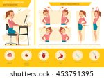 girl office syndrome info... | Shutterstock .eps vector #453791395