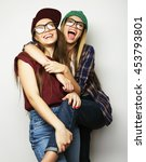 two young girl friends... | Shutterstock . vector #453793801