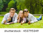 smiling kids having fun at... | Shutterstock . vector #453795349