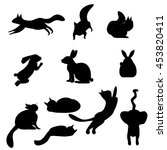 isolated black silhouettes cat  ... | Shutterstock .eps vector #453820411