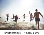 friendship happiness beach... | Shutterstock . vector #453831199
