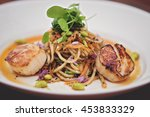 fine dining food  scallops and... | Shutterstock . vector #453833329