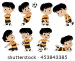 cartoon soccer kid with... | Shutterstock .eps vector #453843385