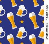 glass of beer flat seamless...   Shutterstock .eps vector #453854239