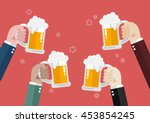 people clinking beer glasses.... | Shutterstock .eps vector #453854245