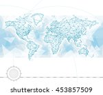 world map with global network... | Shutterstock .eps vector #453857509