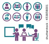 business man and woman icon set   Shutterstock .eps vector #453858001