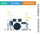 drum set icon. flat color...