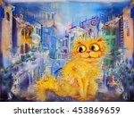 Golden Cat At Evening Street