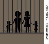 silhouette of family in jail... | Shutterstock .eps vector #453874864