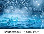 blue drops falling down  of...