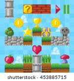 retro video platform game... | Shutterstock .eps vector #453885715
