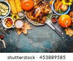 festive  thanksgiving day food... | Shutterstock . vector #453889585